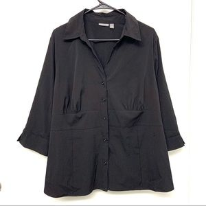 NWT Apt 9 Button Up 3/4 Sleeve Button Up Black 1X